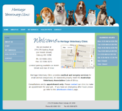 Heritage Veterinary Clinic has a responsive upgrade to their existing template.